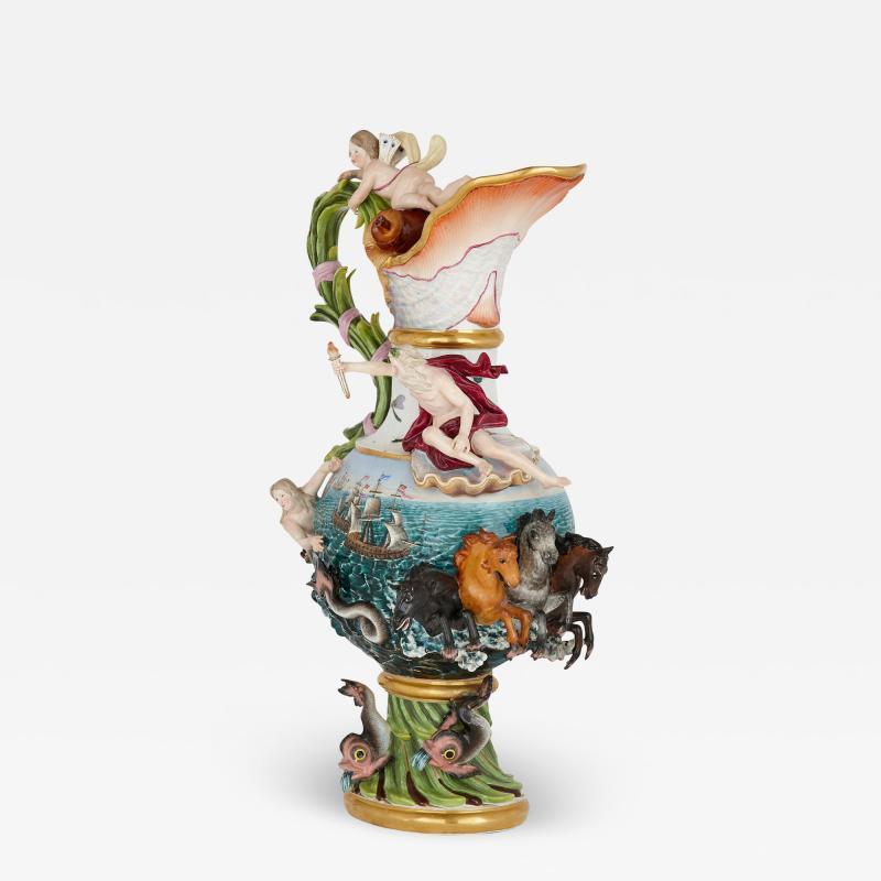 Meissen Porcelain Manufactory 19th Century Meissen Porcelain Water Elemental Ewer