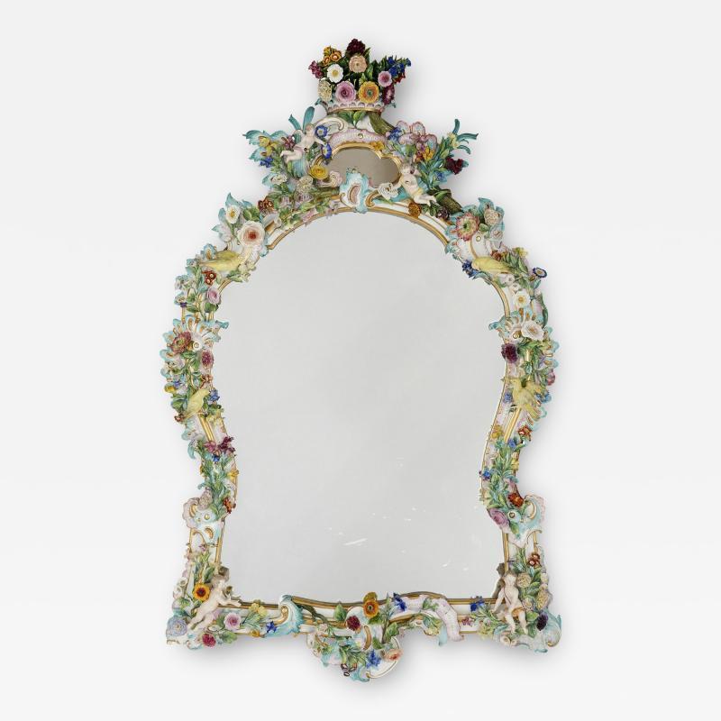 Meissen Porcelain Manufactory Antique Rococo style porcelain mirror by Meissen