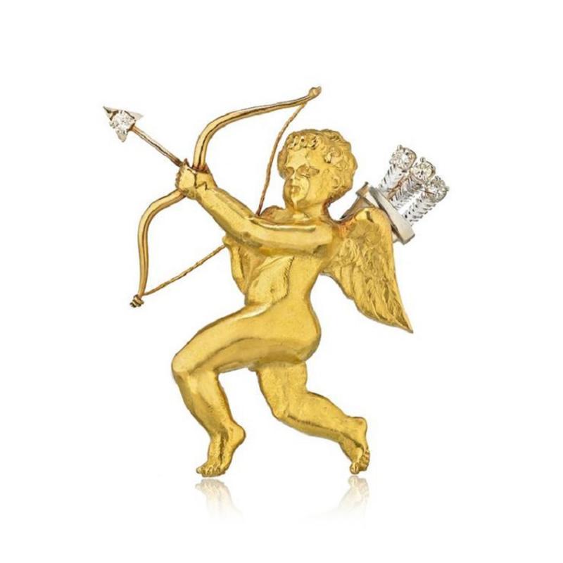 Mellerio dits Meller MELLERIO PLATINUM 18K YELLOW GOLD DIAMOND CUPID BROOCH