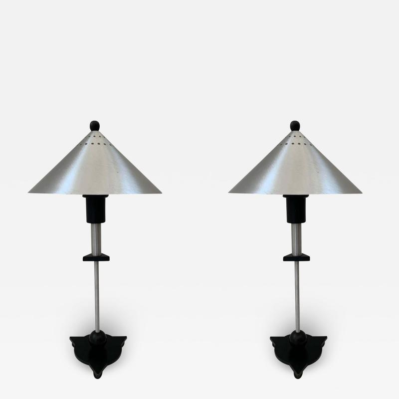 Memphis Group Pair of Postmodern Steel and Black Wood Table Lamps by BE YANG 1980s