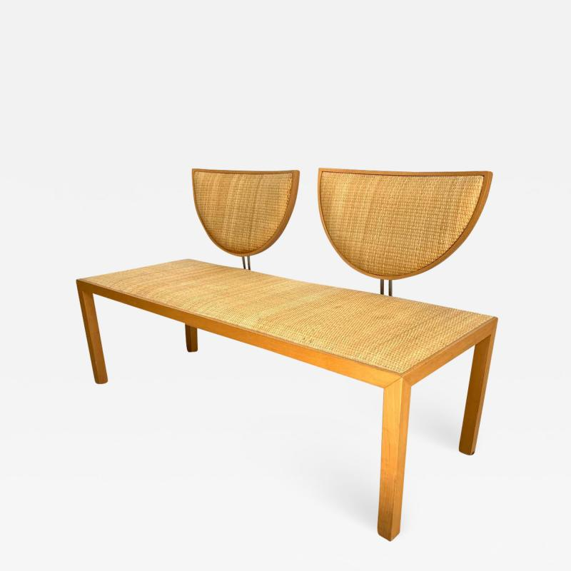 Memphis Group Postmodern Memphis Style Oak and Raffia Bench or Settee Italy 1980s