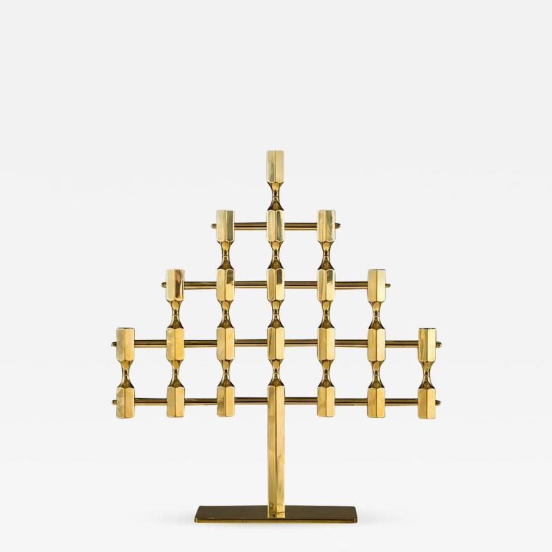 Metallslojden Gusum Large Swedish Candelabra in Brass by Lars Bergsten for Gusum