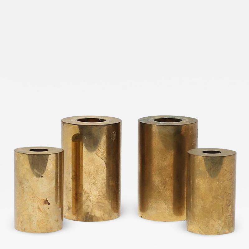 Metallslojden Gusum Set of 4 Swedish Metallsl jden Gusum Brass Candlesticks