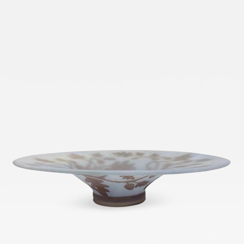 Michna 1970s Austrian Vintage Art Nouveau Style Light Blue Glass Bowl with Oak Leaves