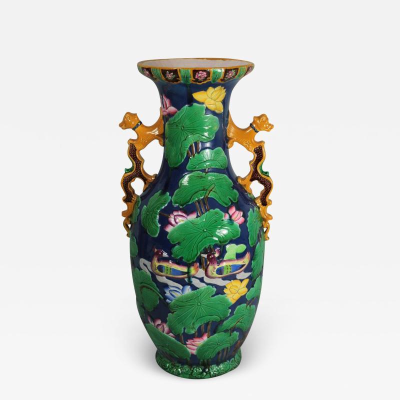 Minton Large Minton Victorian Majolica Exotic Indian Vase