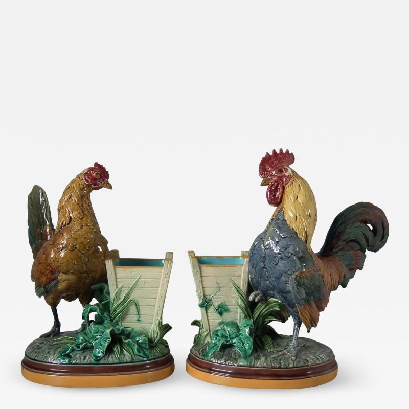 Minton Pair Minton Majolica Hen Rooster Vases by John Henk