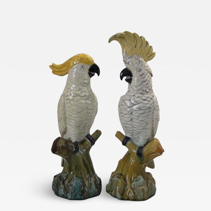 Minton Pair of Edwardian Mintons Majolica Parrots or Cockatoos