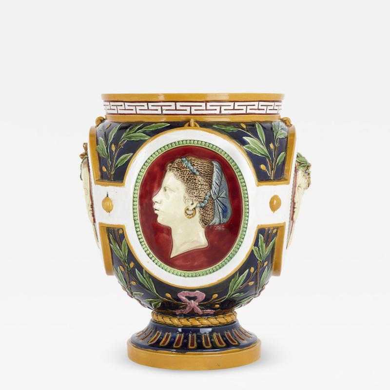 Minton Victorian antique majolica jardini re of the four seasons by Minton