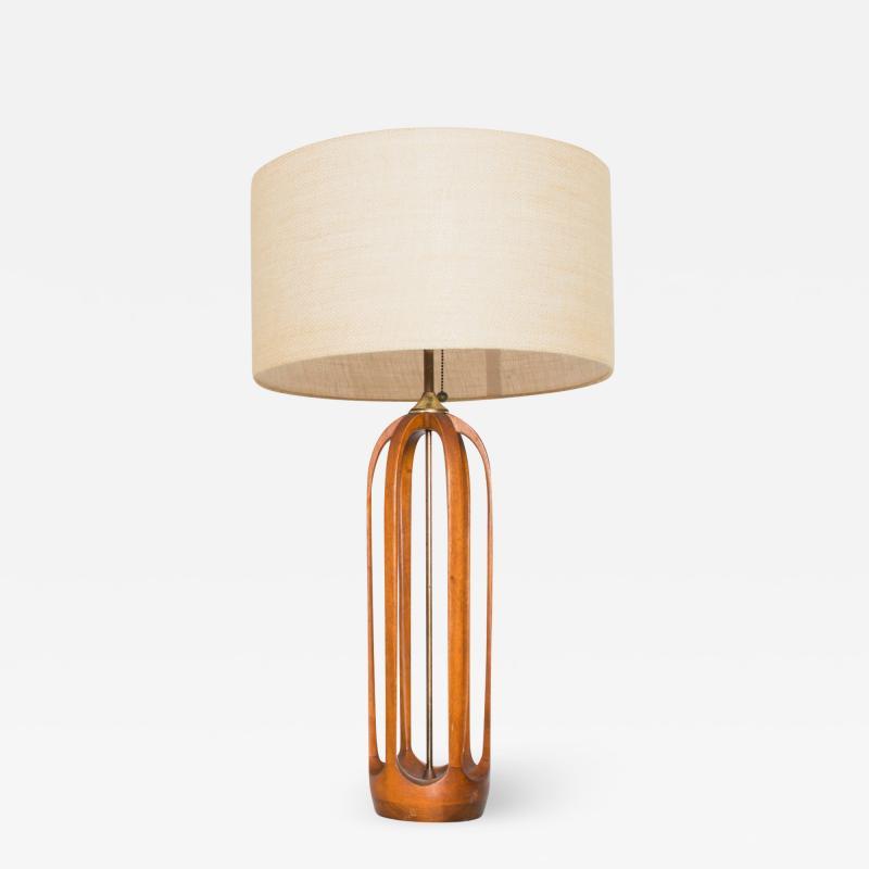 Modeline Airy Sculptural Walnut Wood Brass Lamp by MODELINE 1960s USA