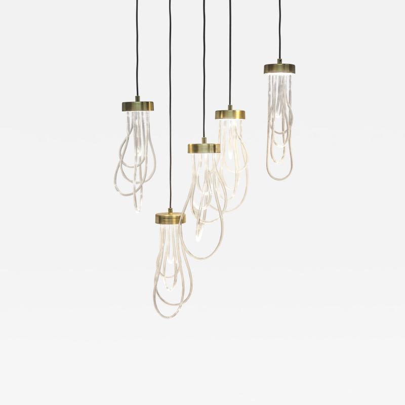 Morghen Studio Ensemble of Brass Light Pendants Cascade