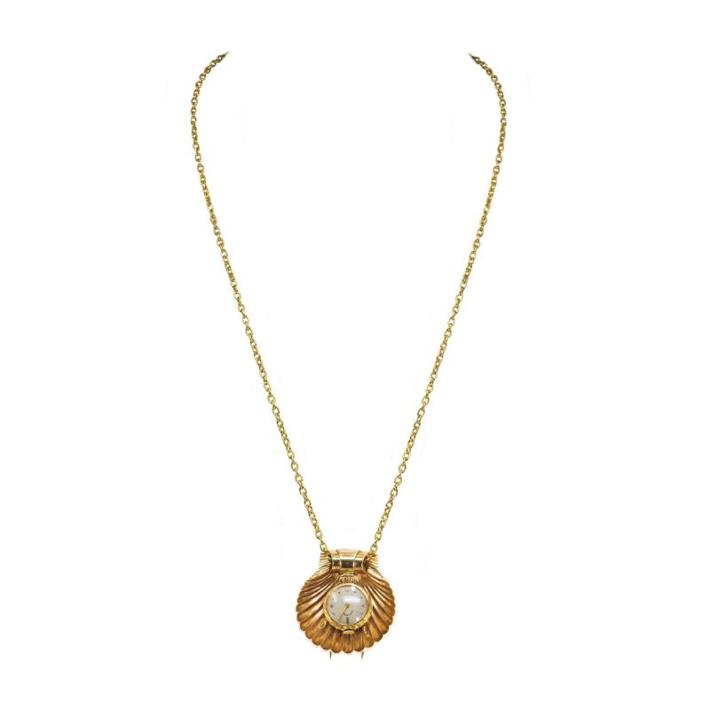 Movado Vintage 1960s Movado Multi Functional Gold Conch Sea Shell Brooch Pendant Watch