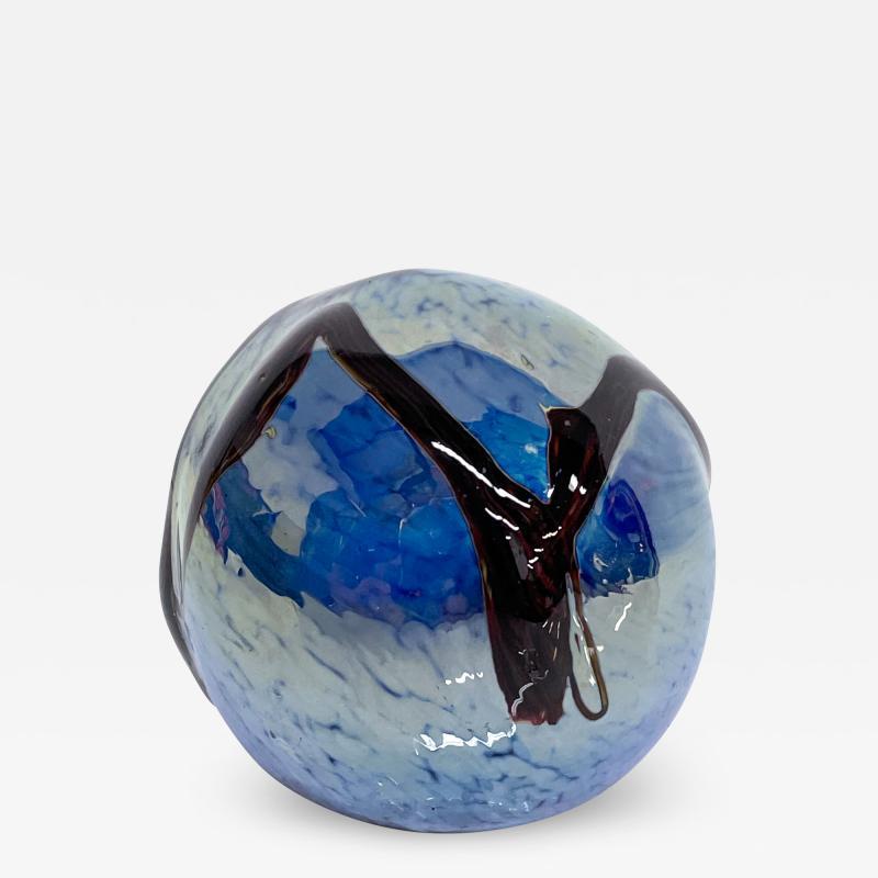 Murano Murano Sea of Blue Art Glass Paperweight Sphere Design Organic Modern 1970s