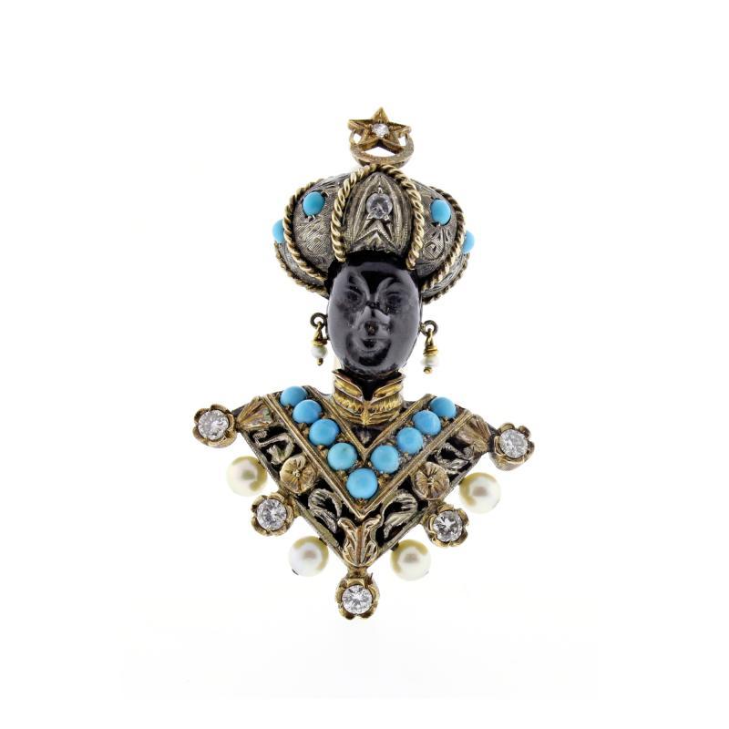 Nardi Nardi Turquoise Diamond Silver Gold Blackamoor Brooch