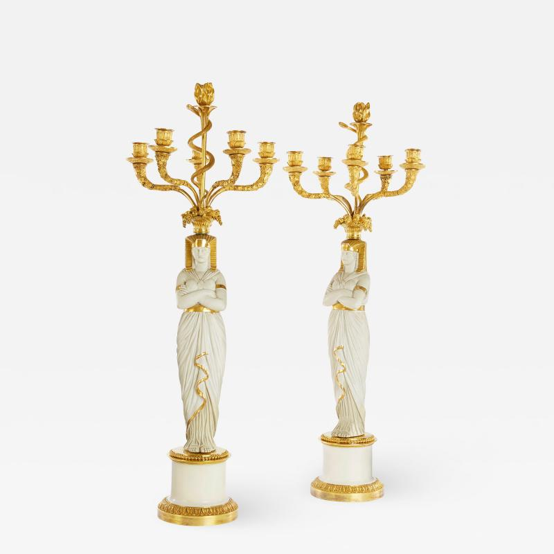 Nast Porcelain Manufactory French Empire period Egyptian style candelabra