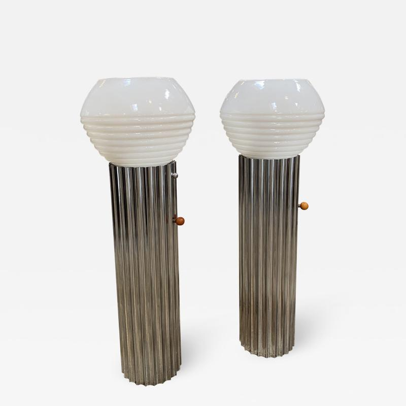 Nessen Studios Pair Two Chrome Column Lamps by Walter von Nessen 1930