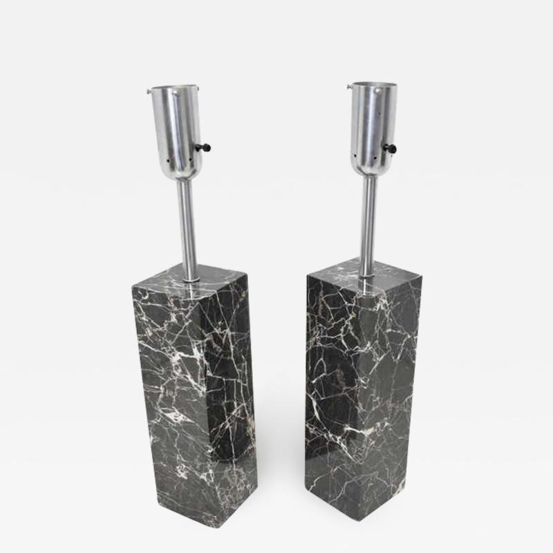 Nessen Studios Pair of Marble Table Lamps by Nessen Studio