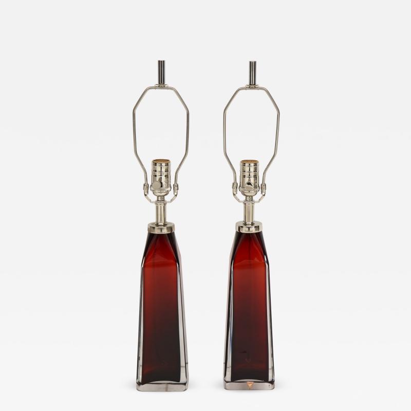 Nils Landberg Nils Landberg Orrefors Ruby Red Crystal Lamps
