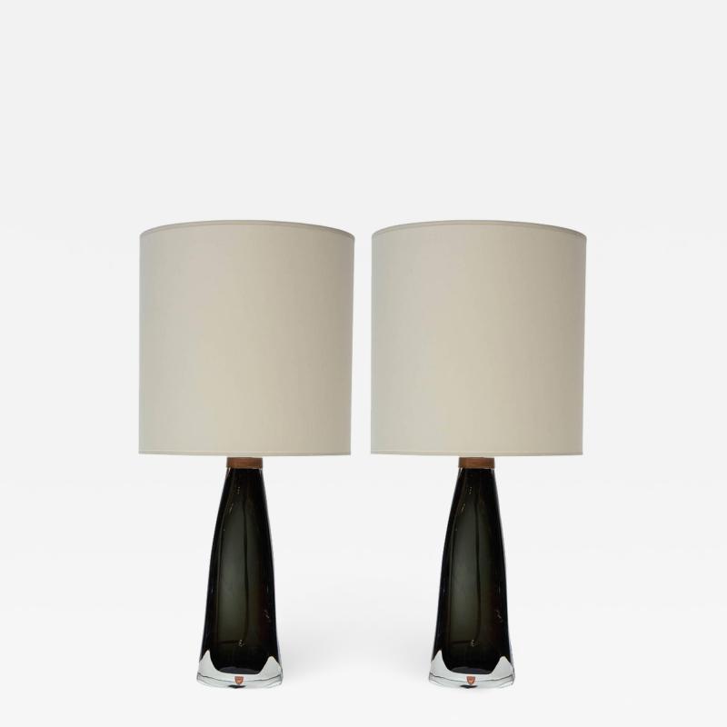 Nils Landberg Pair of Crystal Table Lamps by Nils Landberg for Orrefors