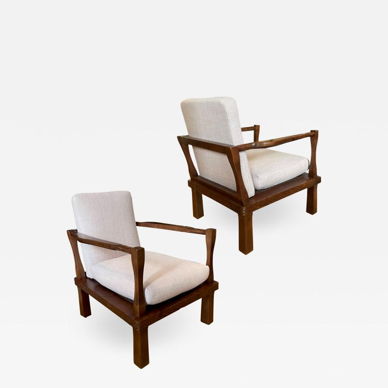 Nordiska Kompaniet Exceptional Pair of Gouged Pine Easy Chairs attributed to Axel Einar Hjorth