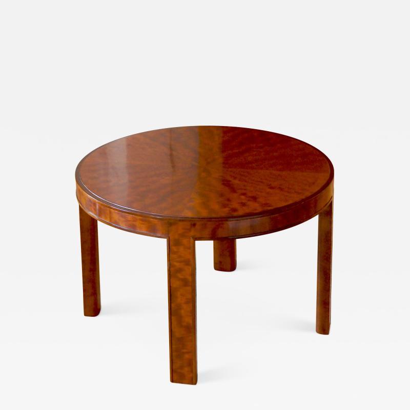 Nordiska Kompaniet Round Coffee Side Table with Articulated Edging in Birch by Nordiska Kompaniet