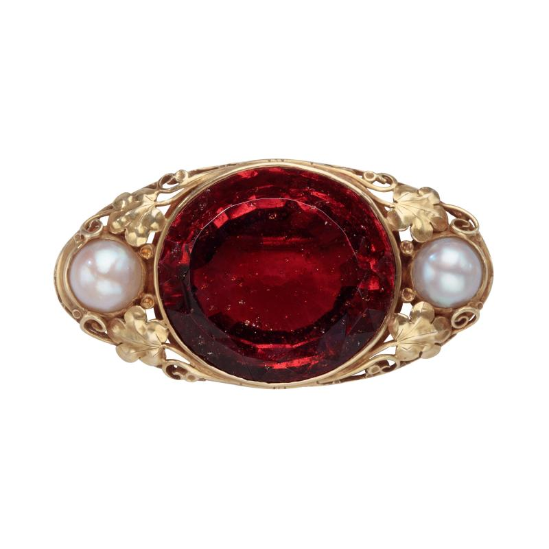 Oakes Studio Oakes Studio Brooch in 14kt Gold with Hessonite Garnet and Pearls