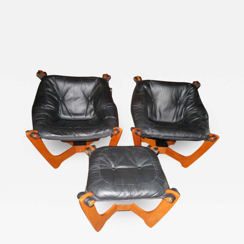 Odd Knutsen Pair of Luna Black Leather Sling Chairs with Ottoman Odd Knutsen Norway