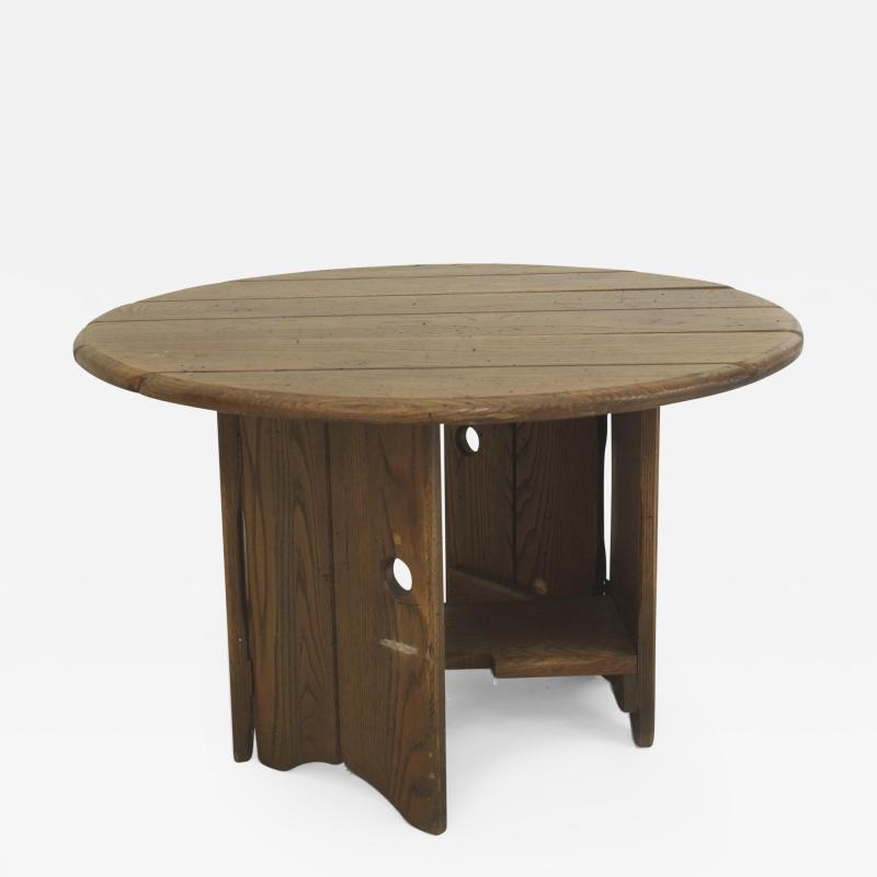 Old Hickory Furniture Co American Rustic Old Hickory Mission style Round Slat Top Gate Leg Coffee Table