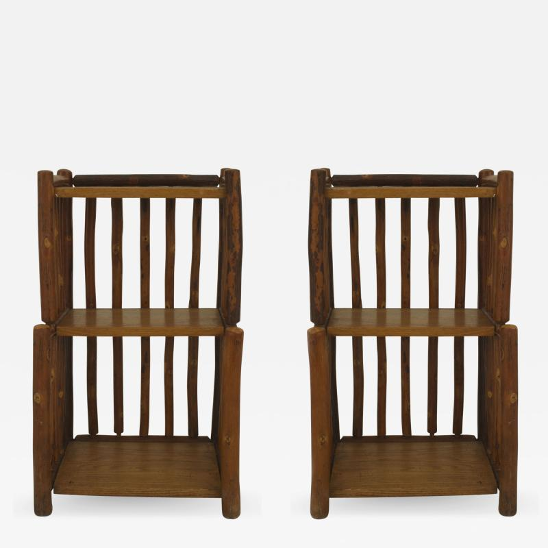 Old Hickory Furniture Co Pair of American Rustic Old Hickory 2 tier Bedside End Tables