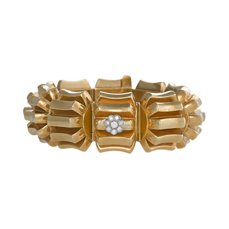 Omega Omega Mid 20th Century Diamond and Gold Watch Bracelet