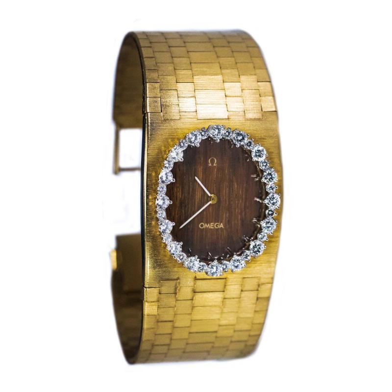 Omega Rare 1970s Omega Diamond Set Wood Dial 18 Karat Yellow Gold Wristwatch