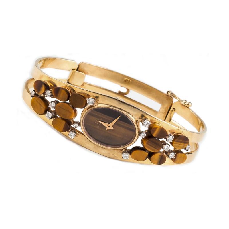 Omega Rare Large High Fashion 1970s Omega Tiger Eye Diamond Set Bangle Watch