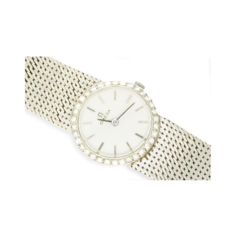 Omega Vintage 1970s Omega 18kt White Gold Diamond Set Mesh Bracelet Wristwatch