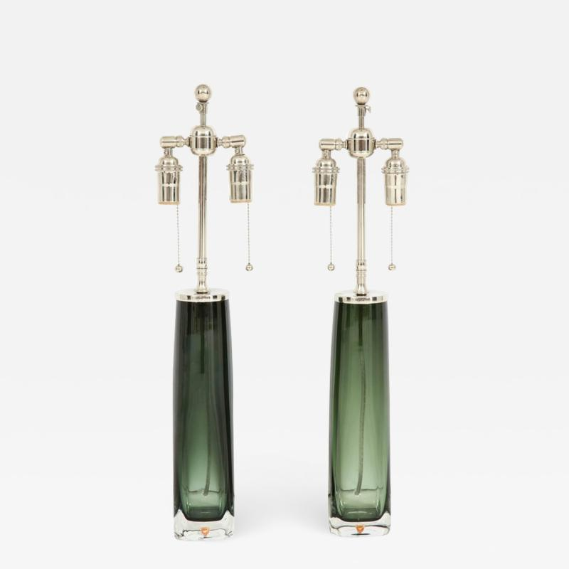 Orrefors Forest Green Glass Lamps by Orrefors