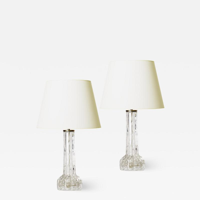 Orrefors Pair of Artisanal Crystal Lamps by Carl Fagerlund for Orrefors