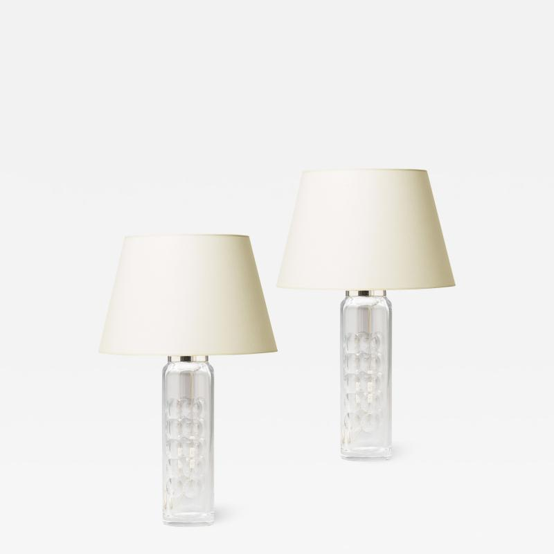 Orrefors Pair of Elegant and Tall Cut Crystal Lamps by Ole Alberius