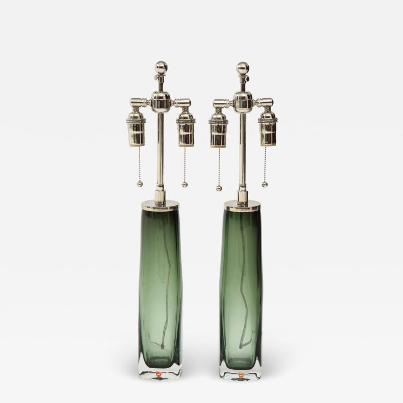 Orrefors Pair of Large Green Glass Lamps by Orrefors