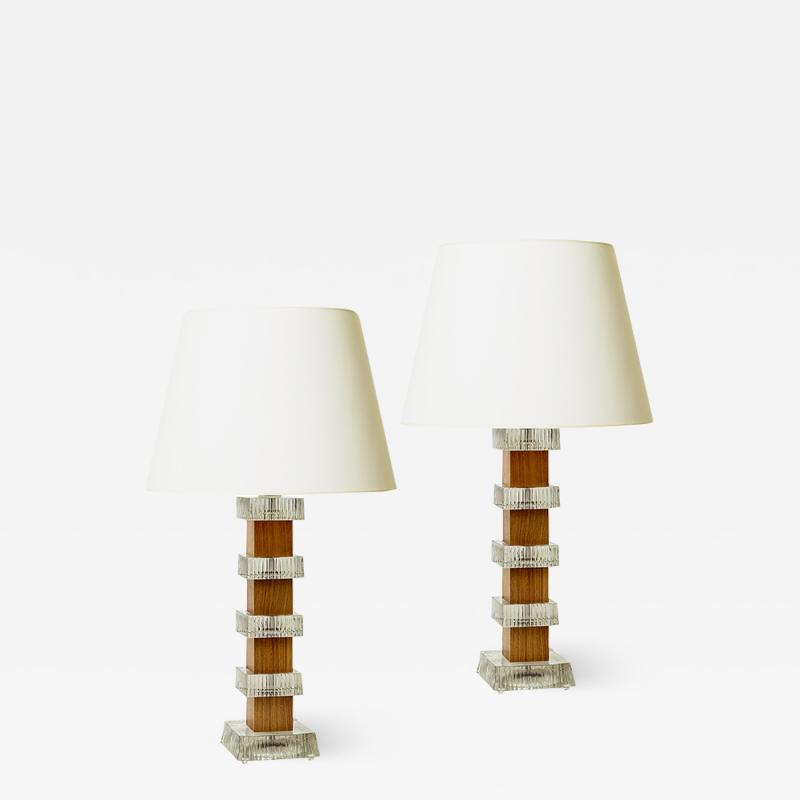 Orrefors Pair of Mod Table Lamps by Carl Fagerlund for Orrefors