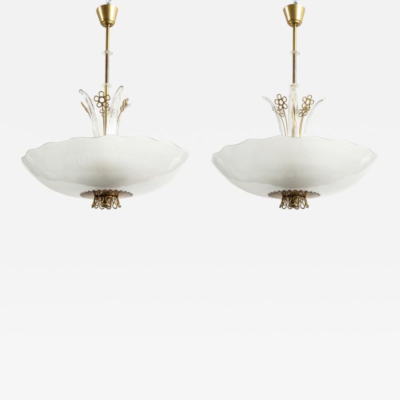 Orrefors Pair of Swedish Orrefors Chandeliers circa 1940s