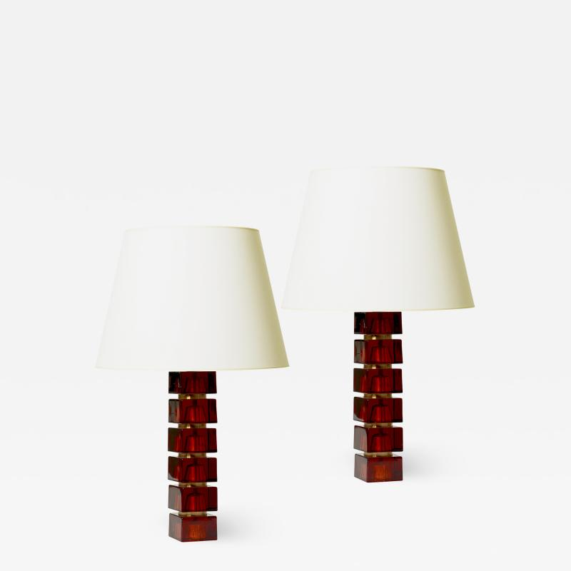 Orrefors Pair of Table Lamps in Whiskey Glass by Carl Fagerlund for Orrefors