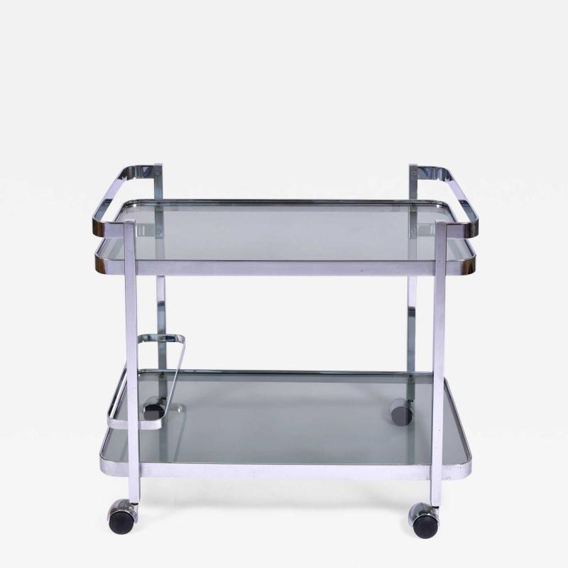 Orsenigo Italian 1970s chrome and glass drinks trolley by Orsenigo