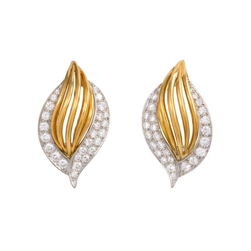 Oscar Heyman Brothers Estate Oscar Heyman Gold and Diamond Cip Earrings