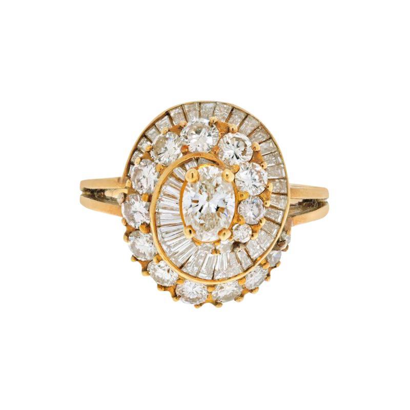 Oscar Heyman Brothers OSCAR HEYMAN 18K YELLOW GOLD 2 CARAT OVAL CUT DIAMOND HALO RING