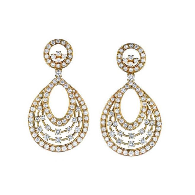 Oscar Heyman Brothers OSCAR HEYMAN HANGING 18K YELLOW GOLD 13 CARAT CHANDELIER DIAMOND EARRINGS