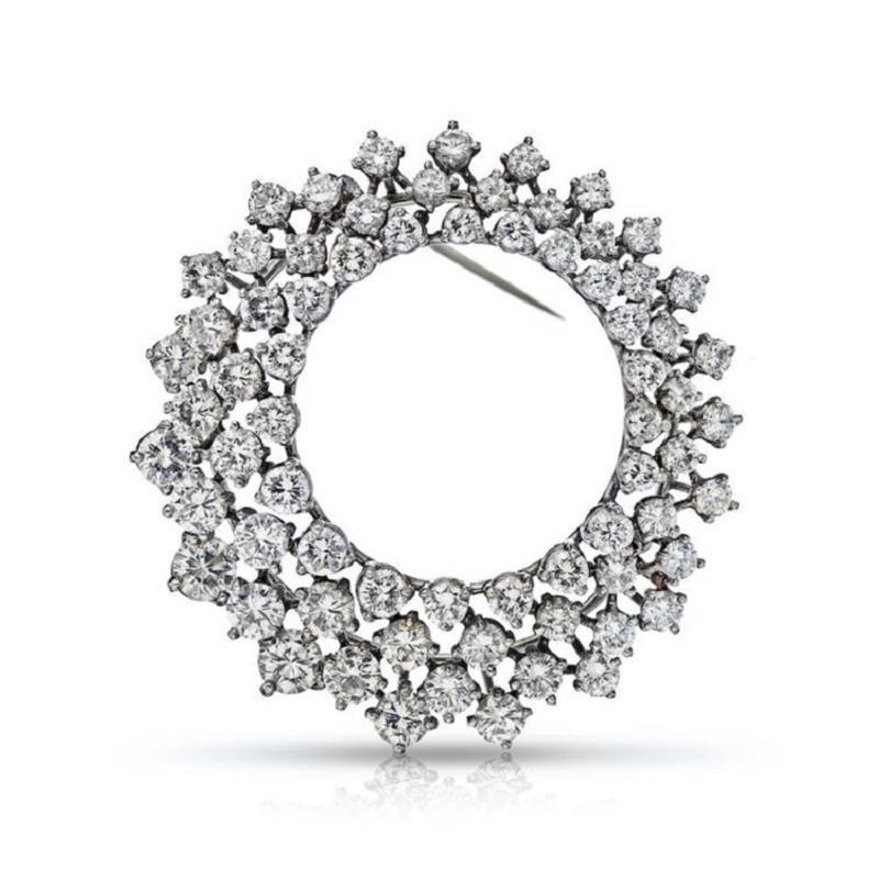 Oscar Heyman Brothers OSCAR HEYMAN PLATINUM CIRCULAR DIAMOND BROOCH