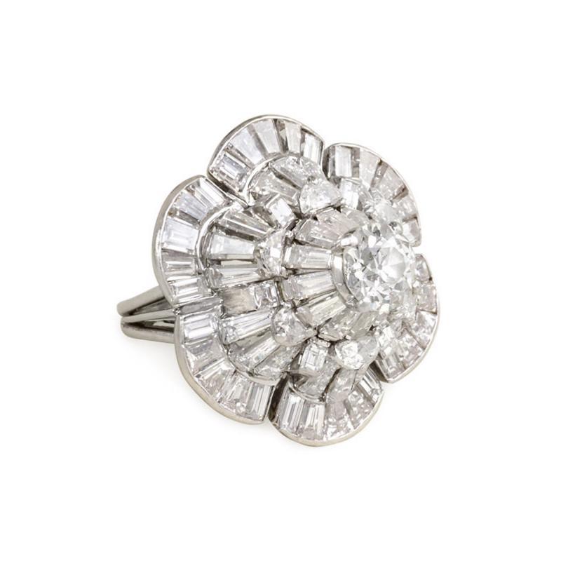 Oscar Heyman Brothers Oscar Heyman 1950s Diamond Stylized Flower Cocktail Ring