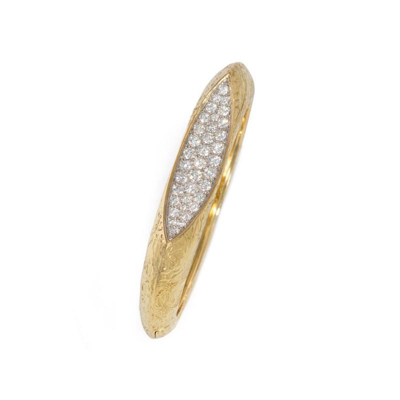 Oscar Heyman Brothers Oscar Heyman 1960s Modernist Gold and Diamond Bangle Bracelet