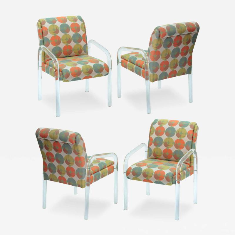 Pace Collection 4 Lucite Dining Game Chairs By Leon Rosen For Pace Collection