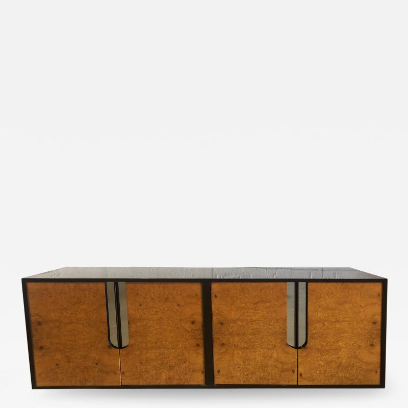 Pace Collection American Modern Burlwood Black Lacquer and Chrome Credenza Pace Collection