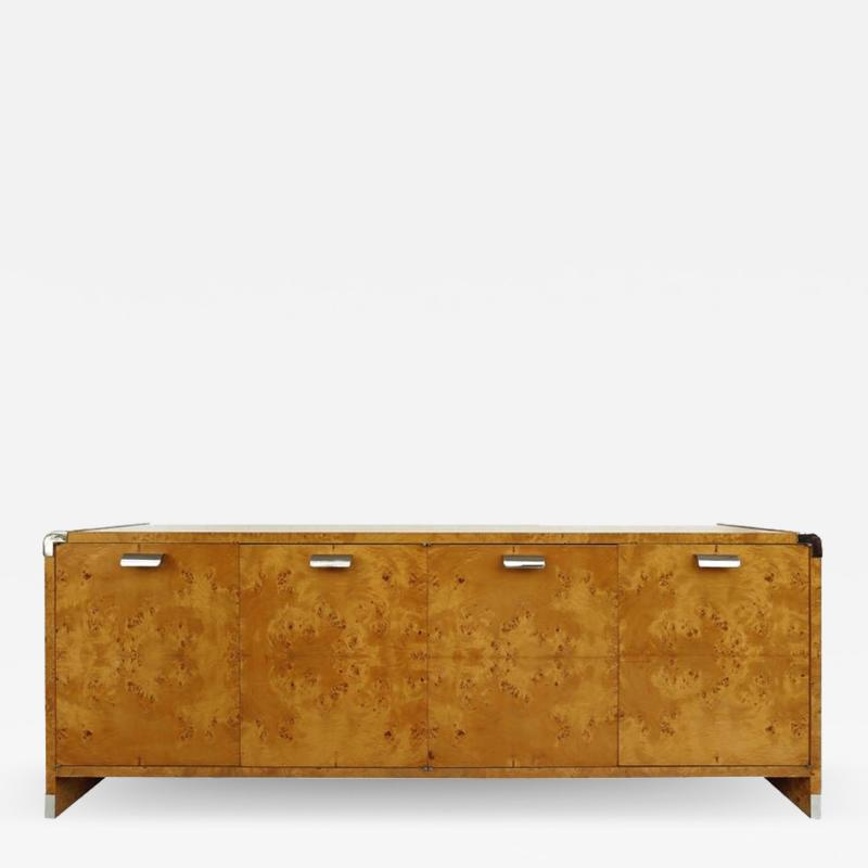 Pace Collection Leon Rosen Pace Collection Burl Wood Credenza with Stainless Steel Accents