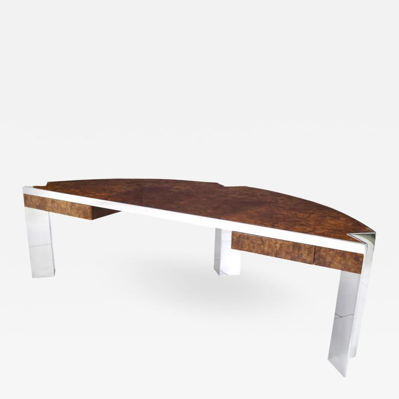 Pace Collection Mezzaluna PACE Collection Burl Wood and Stainless Steel Desk